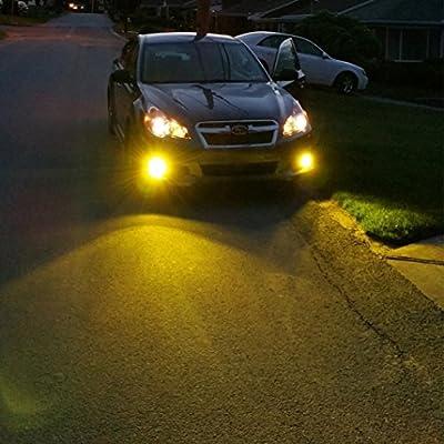 Alla Lighting Xtreme Super Bright LED 2504 PSX24W Fog Light Bulbs - High Power COB Universal 12276 2504 PSX24W LED Bulb Fog Lights Lamp Replacement - 3000K Amber Yellow: Automotive