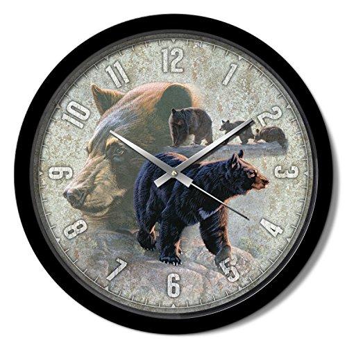 Black Bear Wall Clock - Reflective Art 15