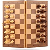 """ANSUNTON Chess Set,11.4""""x11.4"""" Strong Magnetic Folding Portable Travel Wooden Chess Game Board Set with Storage and Handcrafted Wood Chess Pieces for Kids Beginners and Adults"""