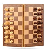 ANSUNTON Chess Set,11.4'x11.4' Strong Magnetic Folding Portable Travel Wooden Chess Game Board Set with Storage and Handcrafted Wood Chess Pieces for Kids Beginners and Adults