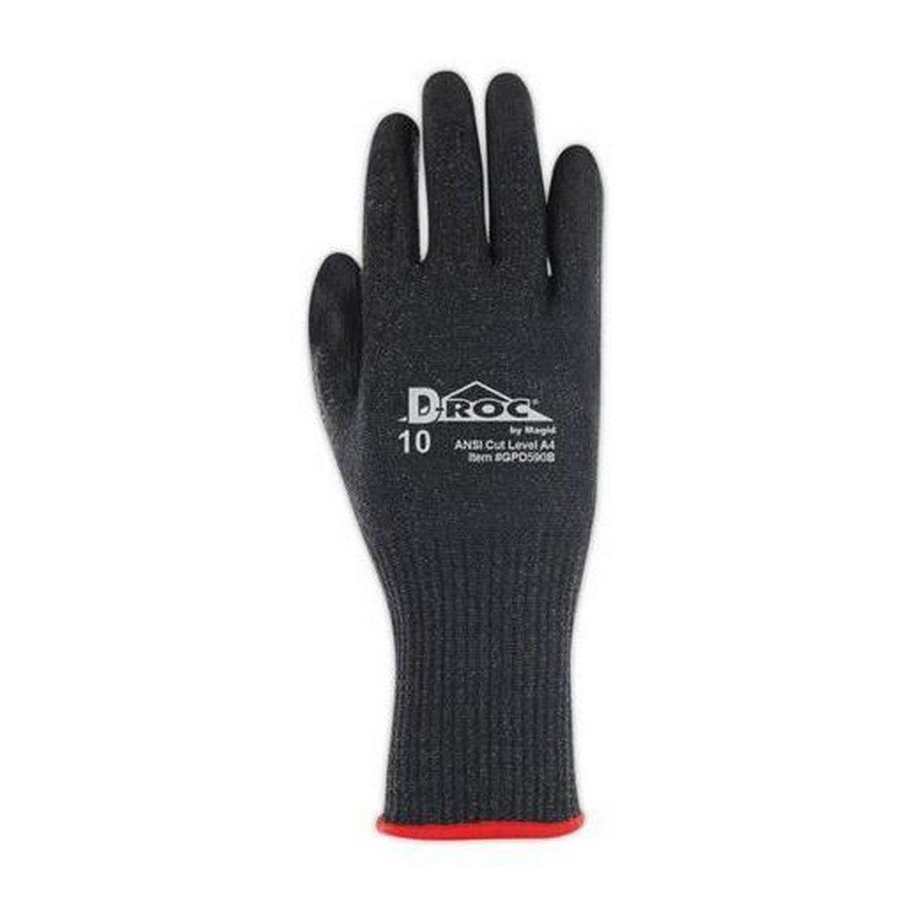 Glove & Safety GPD590B-9 D-ROC Black Hyperon Polyurethane Palm Coated Work Gloves, Cut Level A5, 9'', Black (Pack of 12)