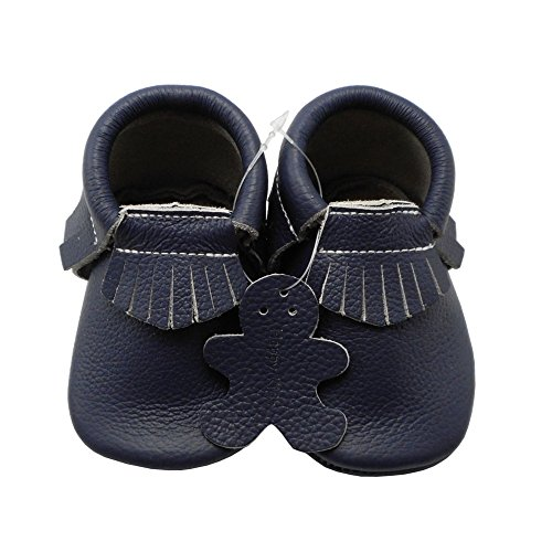 YIHAKIDS Baby Tassel Shoes Soft Leather Sole Infant Shoes Baby Moccasins Crib Shoes Navy Blue(size 6.5,12-18 months/5.3in) - Image 1