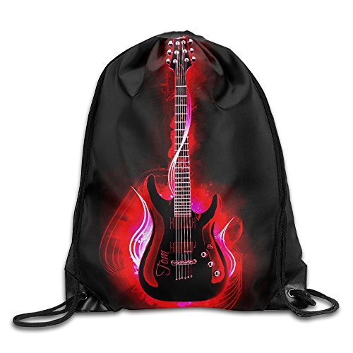 MCWO GRAY Music Guitar Drawstring Bag Backpack Draw Cord Bag Sackpack Shoulder Bags Gym Bag Large Lightweight Gym For Men And Women Hiking Swimming Yoga
