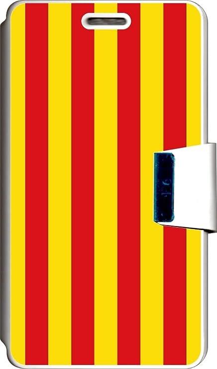 SUPER STICKER Funda Libro para Vodafone Smart 4 Turbo Cover Flip Blanco, con Dibujo, Bandera Catalunya: Amazon.es: Electrónica