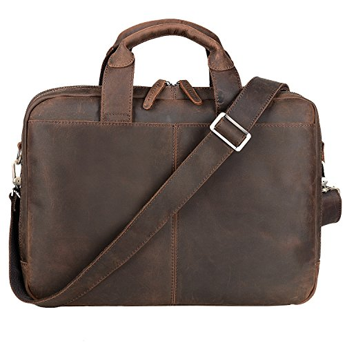 Jack&Chris Leather Briefcases For Men Shoulder Laptop Bag Leather Messenger Bag(Cowhide Grain Leather MB003B) (Cowhide Top Grain Briefcase)