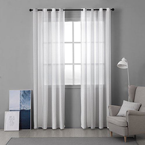 MIULEE Window Curtain Sheer Elegance Pinstripe Voile Grommet Window Treatment for Bedroom Living Room (Set of 2 Panels, 52x84 Inch Grey Stripe)