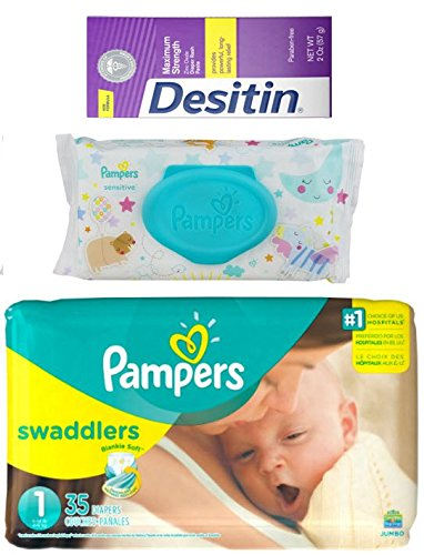 Diapering Bundle - Includes Pampers Swaddlers Size 1, Pampers Sensitive Wipes and Desitin Diaper Rash Cream  Perfect Diaper Changing Combo  Makes a Great Baby Shower Gift!
