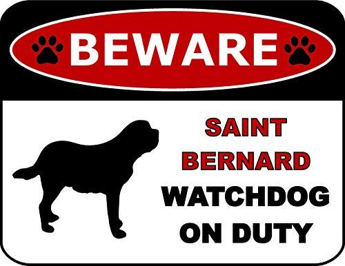 Top Shelf Novelties Beware Saint Bernard Watchdog On Duty (Silhouette) Laminated Dog Sign (Includes Bonus I Love My Dog Decal) SP1343