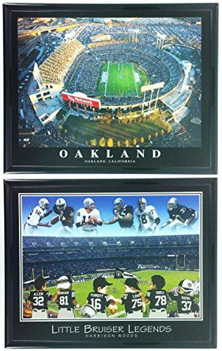 Little Raiders Football Legends with Oakland Coliseum Aerial Photo Framed Set of 2 LL5015
