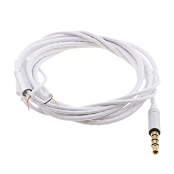 Baoblaze 1.25M DIY Earphone Audio Cable Repair Replacement Headphone Wire White