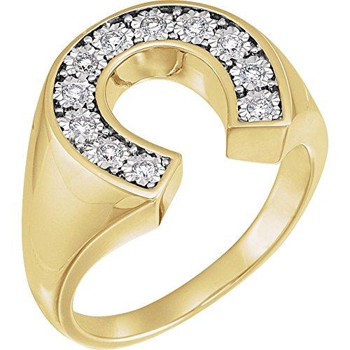 Diamond Ring Horseshoe Ladies (FB Jewels 14K Yellow and White Two Tone Gold 1/4 CTW Diamond Men's Horseshoe Ring Size 10)