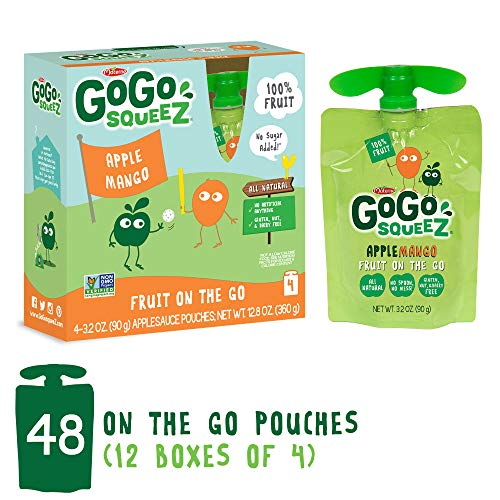 GoGo squeeZ Applesauce on the Go, Apple Mango, 3.2 Ounce (48 Pouches), Gluten Free, Vegan Friendly, Healthy Snacks, Unsweetened Applesauce, Recloseable, BPA Free Pouches