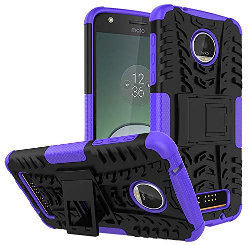 Moto Z Play Droid Case,Yiakeng Shockproof Impact Protection Tough Rugged Dual Layer Protective Case Cover with Kickstand for Motorola Moto Z Play Droid (Armor Purple)