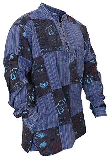 - Shopoholic Fashion Mens Stonewashed Printed Patch Hippie Shirt (S,Black)