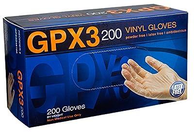 AMMEX - GPX3D44100-BX - Vinyl Gloves - GPX3D - Disposable, Powder Free, Industrial, 3 mil, Medium, Clear (Box of 200)