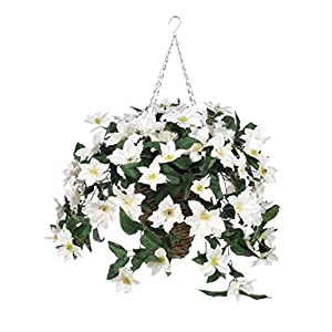 House of Silk Flowers Artificial Cream Clematis in Square Hanging Basket 6