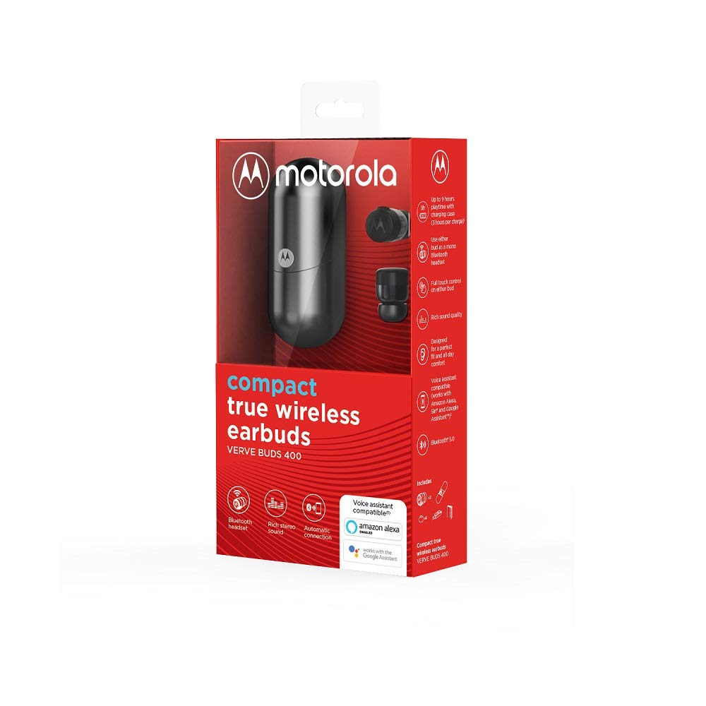 Bluetooth in Ear Mini Kopfh/örer Siri und Google Assist Motorola VerveBuds 400 Kompatibel mit Alexa 9Std IP56 Waterproof und Mono oder Dual-Headset Tragbar Ladebox und Integriertem Mikrofon