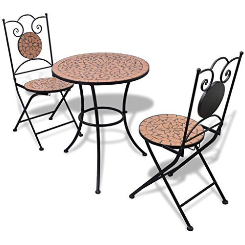 vidaXL Set Mueble Mesa Mosaico 60 cm y 2 sillas jardín Patio ...