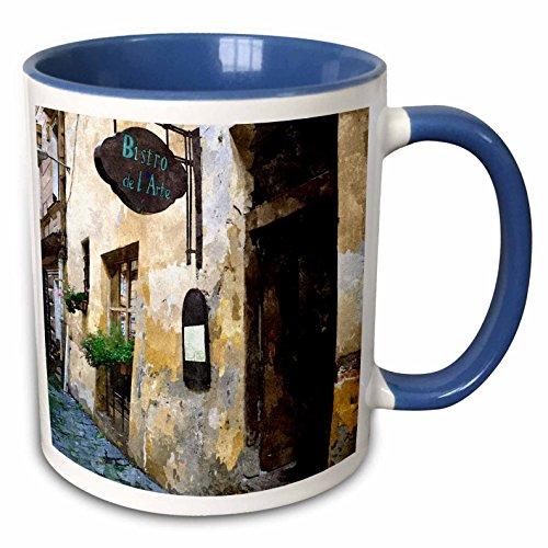 Two Bistro Tone Mug (3dRose TNMPastPerfect Exotic Places - Outside of European Bistro - 11oz Two-Tone Blue Mug (mug_26022_6))