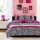 Mi-Zone Comforter Bed Set Teen Kids Girls Pink Black White Animal Print Polka Dots Bedding Set (Full/queen)