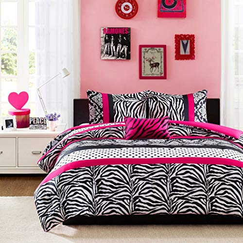 3-piece Comforter Set Beautiful Stripes, Polka Dots, Zebra and Damask Print Contemporary Stylish Perfect for Your Girl Vibrant Colors Pink - Full Queen