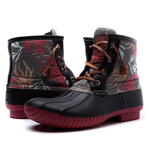 Women's GW Nylon Textile Duck Rain Boots Black