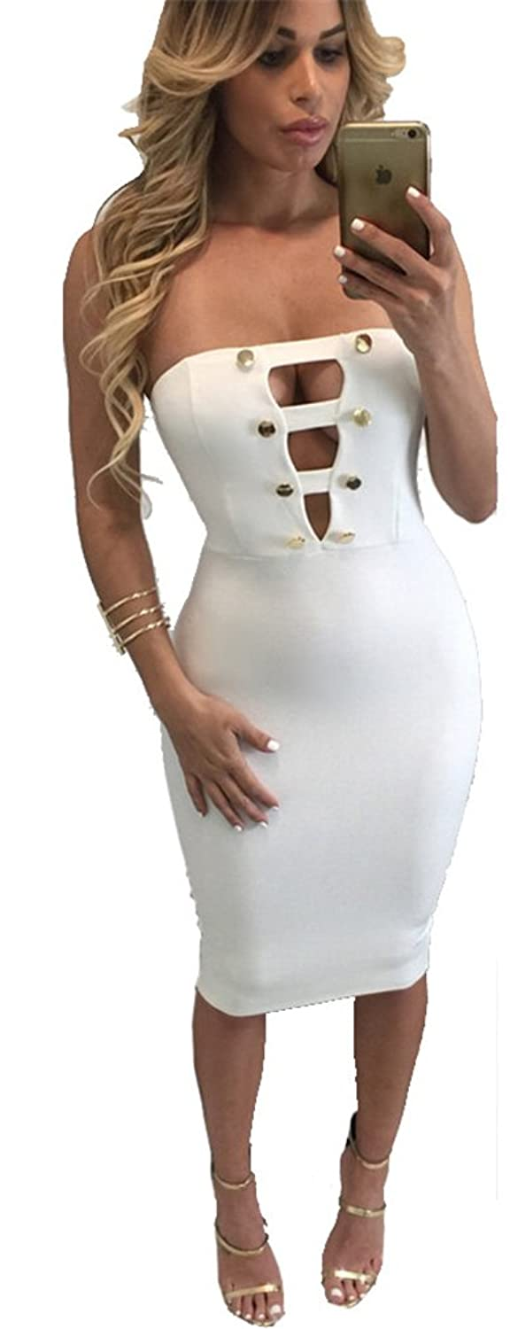 Becooler Women's Sexy Strapless Button Bodycon Strecthy Party Clubwear Dress