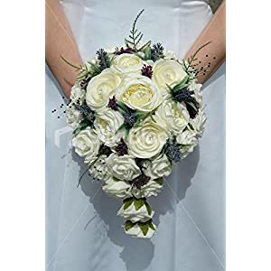Tear Drop Bouquet w/ Ivory Roses and Purple Heather & Allium 3