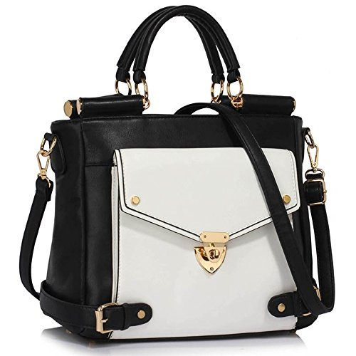 Business Tote Satchels Clearance Size 237 Handbags Grab Sale Flap White Meeting Large Leather LeahWard Top Black Faux Handle Twist Office Lock w1Yvnq7R
