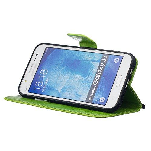 XiaoXiMi Funda Samsung Galaxy J5 2016 SM-J510F Carcasa Diente de león en relieve Patrón Funda Protectora Carcasa Cartera de PU Cuero Flip Wallet Case Cover Bumper Funda Cartuchera Carcasa Blanda Suave Verde