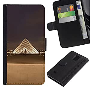Billetera de Cuero Caso Titular de la tarjeta Carcasa Funda para Samsung Galaxy Note 4 SM-N910 / Paris Museum Louvre City / STRONG