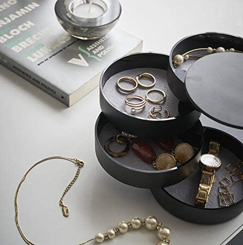 HengLiSam Jewelry Boxes Organizer Box Jewelry Storage Box 4-Layer Rotatable Jewelry Accessory Storage Tray with Lid Black