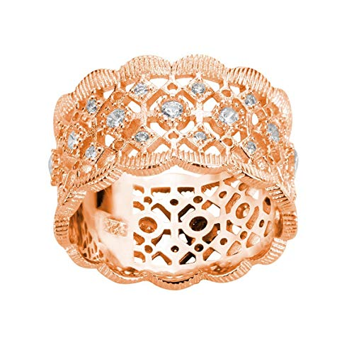 CloseoutWarehouse Rose Gold-Tone Plated Cubic Zirconia Filigree Ring Sterling Silver Size 3 ()