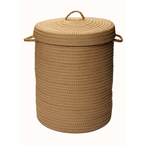 Storage Round Laundry Hamper for Bathroom with 2 Handles and Lid Made w/ 100% Polypropylene in Cafe Tostado Finish 30