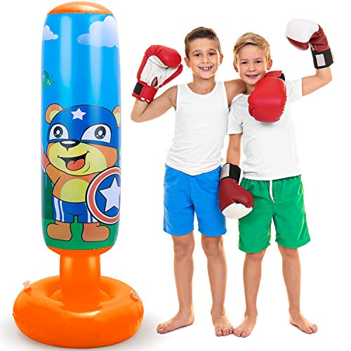 LEAZEAL 47.2inch Inflatable Punching Bag for Kids, Heavy Boxing Punching Bag with Stand Speed Bags for Boxing MMA…