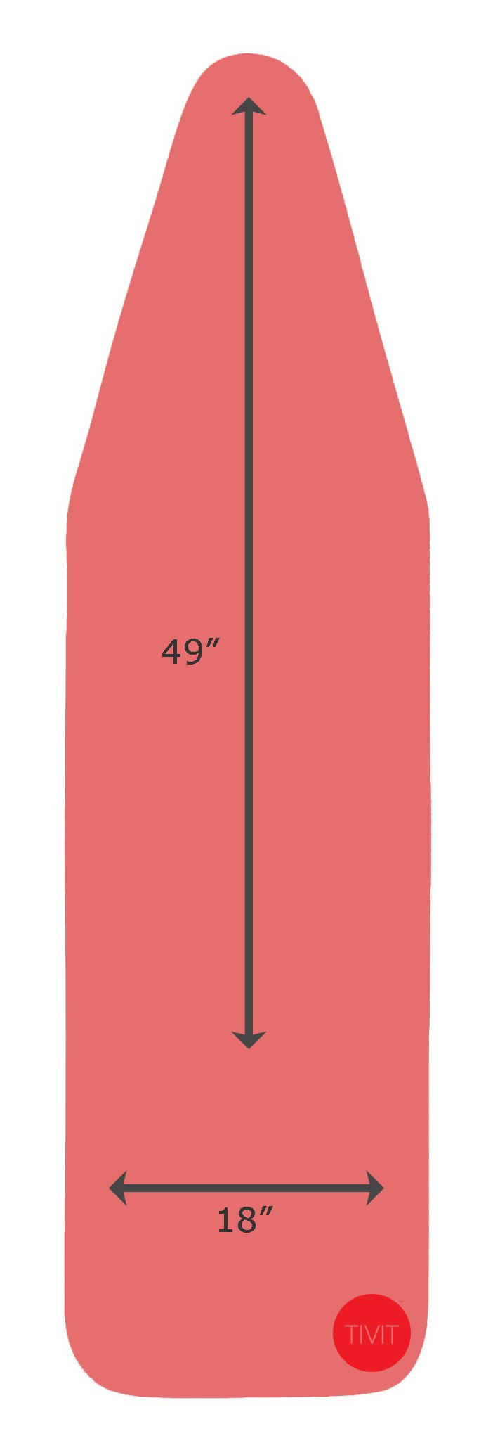 18 x 49 Inch CottonTek Pro - Heat-Reflective Advanced Cotton Technology - 5 Layer Padded Ironing Board Cover for Ironing & Steaming with Full Aluminum Lining - Coral Red/Patent Pending