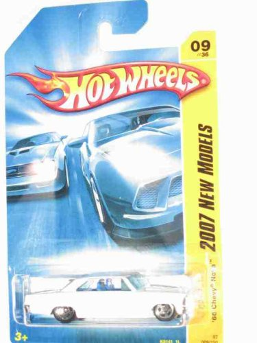 2007 New Models #9 '66 Chevy Nova White And Blue #2007-9 Collectible Collector Car Mattel Hot Wheels 1:64 Scale