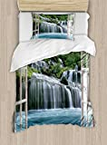 Ambesonne Waterfall Duvet Cover Set Twin Size, Majestic Waterfall Landscape Through A Window Imaginary Secret Paradise Print, Decorative 2 Piece Bedding Set with 1 Pillow Sham, Blue Green