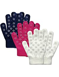 Boys Girls Magic Stretch Gripper Gloves 3 Pair Pack...