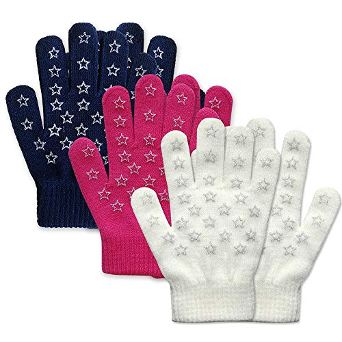 EvridWear Boys Girls Magic Stretch Gripper Gloves 3 Pair Pack Assortment, Kids One Size Winter Warm Gloves Children (6-8Years, 3 Pairs Star Printing)