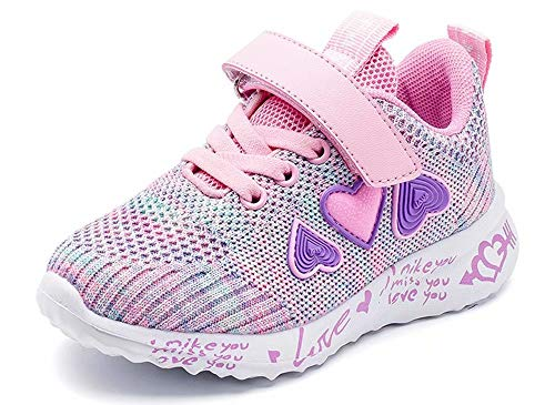 ODOUK Kids Tennis Shoes Breathable Running Walking Shoes Fashion Sneakers for Boys and Girls Pink 13 Little Kid (Popular For Girls)