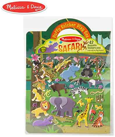 Melissa & Doug Safari Puffy Sticker Play Set (Activity Pads, Reusable Puffy Sticker Play Set, Double-Sided Background, 42 Stickers)