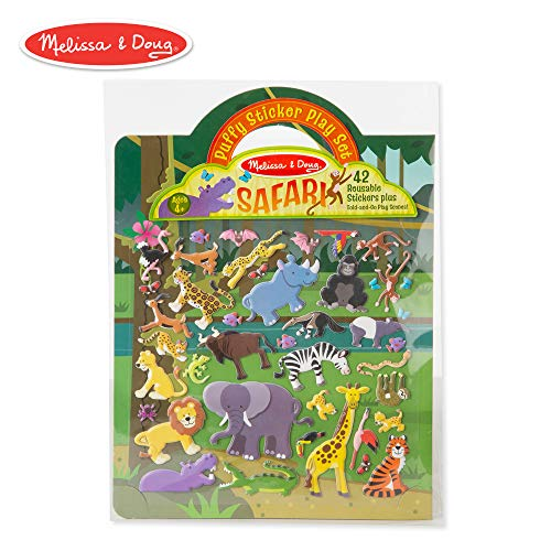 Melissa & Doug Safari Puffy Sticker Play Set (Activity Pads, Reusable Puffy Sticker Play Set, Double-Sided Background, 42 Stickers) ()