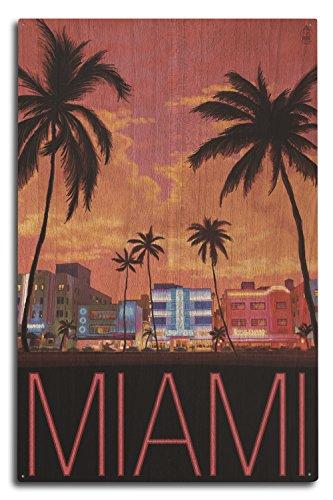 Lantern Press South Beach Miami, Florida (10x15 Wood Wall Sign, Wall Decor Ready to Hang) - Miami Beach Florida Framed Art