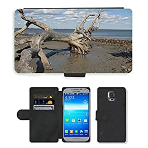 CARD POCKET BOOK CASE PU LEATHER CASE // M00421453 Sand Driftwood Sky Shore Paisaje // Samsung Galaxy S5 S V SV i9600 (Not Fits S5 ACTIVE)