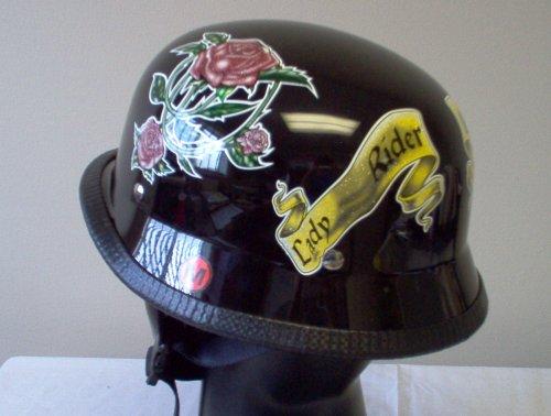 German Lady Rider Rose Biker Novelty Helmet Large New