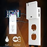 USB Outlet Wall Plate Duplex - With LED Night Light , ROKKES Switch Snap On Power Wall Outlets Covers Replacement Plate, With Dual USB Ports, Sensor Guide Light , Phone Charging Holder ,