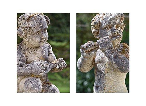 Guardian Garden Statue (Cherub Sculptures Large Unframed PHOTOGRAPHIC PRINT English Garden Statue Photography Music Diptych Classic Art Edwardian Wall Decor Green Grey Matching Photo Set of Two 16x20 16x24 20x30)