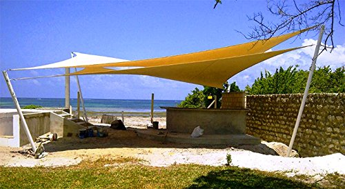 amazoncom 3rd generation triangle outdoor sun sail shade canopy coverchoose 20x20x20 sand patio lawn u0026 garden