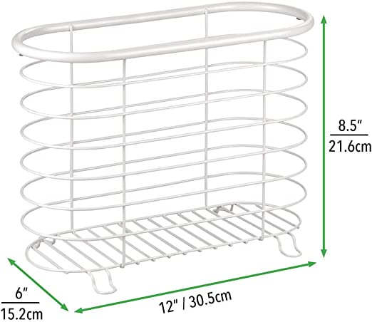 blanc mat mDesign porte revue porte magazine /él/égant en m/étal pour la salle de bain porte journal aussi utilisable pour des livres tablettes etc